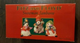 FITZ & and FLOYD Snowman Candleholders SNOWMAN JAMBOREE Musicians Holida... - $20.20