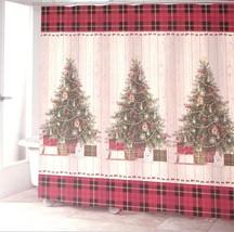 Avanti Linens CHRISTMAS TREE Country Primitive Plaid Shiplap Shower Curt... - $26.00