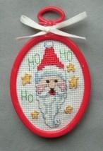 Finished completed cross stitch Santa Ho Ho Ho stars Christmas ornament - $9.99