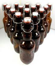 LOT 15 Vintage Grolsch Beer Bottles Amber Brown Glass Porcelain Flip Swing Top - $59.35