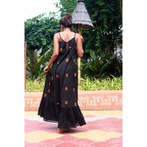 Custom Made Black Tie-Dyed Cotton Bohemian Maxi Dress   - $52.00