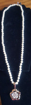 Signed Swarovski SAL Pearl with Crystal Gold Tone Flower Pendent Necklace - $39.11