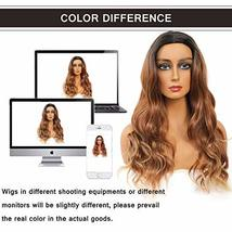LEKOUUUGU 22 Inches Ombre Brown Wigs for Women Middle Part Long Wavy Wigs for Wo image 7