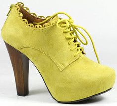 Yellow Faux Suede Lace Up High Chunky Heel Platform Fashion Ankle Boot Qupid - $14.99