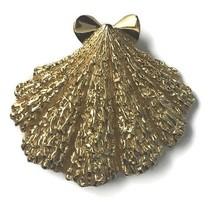 "Vintage Trifari Goldtone Seashell Shell Shaped Brooch Pin Costume Jewelry 2-1/8"" - $13.93"