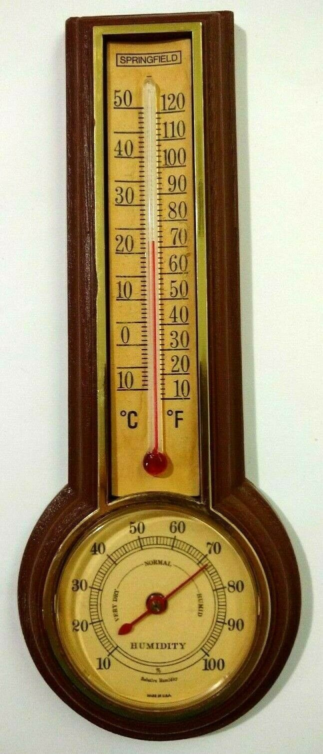 Springfield Instrument Co Thermometer Humidity Brown Plastic Made in USA