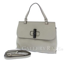 GUCCI Handbag Calf Leather Gray Bamboo 370831 Shoulder Bag Authentic 551... - $805.47