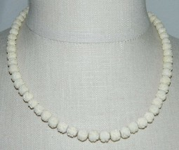 VTG 1/20 10k GF Ivory Colored Beaded Carved Celluloid Flower Choker Necklace - $49.50