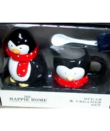 Happy Home Penguin Creamer Sugar Bowl Spoon Set Mint in Box Ceramic - $9.95