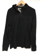 Men's Black BANANA REPUBLIC Hooded Sweatshirt L heavy Knit Hoodie - $28.95