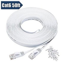 Cat 6 Ethernet Cable 50 Ft White With Cable Clips - Flat Internet Network Cable - $28.26