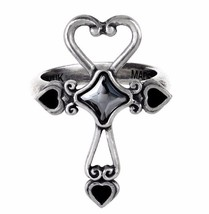 LAST CHANCE! Eternal Amour Ankh Cross Black Hearts Ring Alchemy Gothic R211 - $29.95