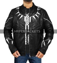 Black Panther Avengers Infinity War T'Challa (Chadwick Boseman) Black Leather Co image 2