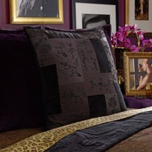 2 Ralph Lauren New Bohemian Black Velvet Quilted Beaded Euro shams New $684 - $167.15