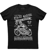 Moto Racer Capital Speedway Bike Rider Mens Short Sleeve Cotton Black T-... - $17.99+