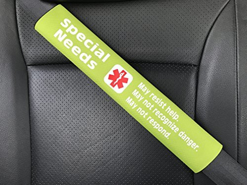 Special Needs Medical Alert Seat Belt Cover Bright Green