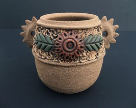 Turning Point Pottery Studio Stoneware Jar Vase Southwest Design Chicken... - $13.95