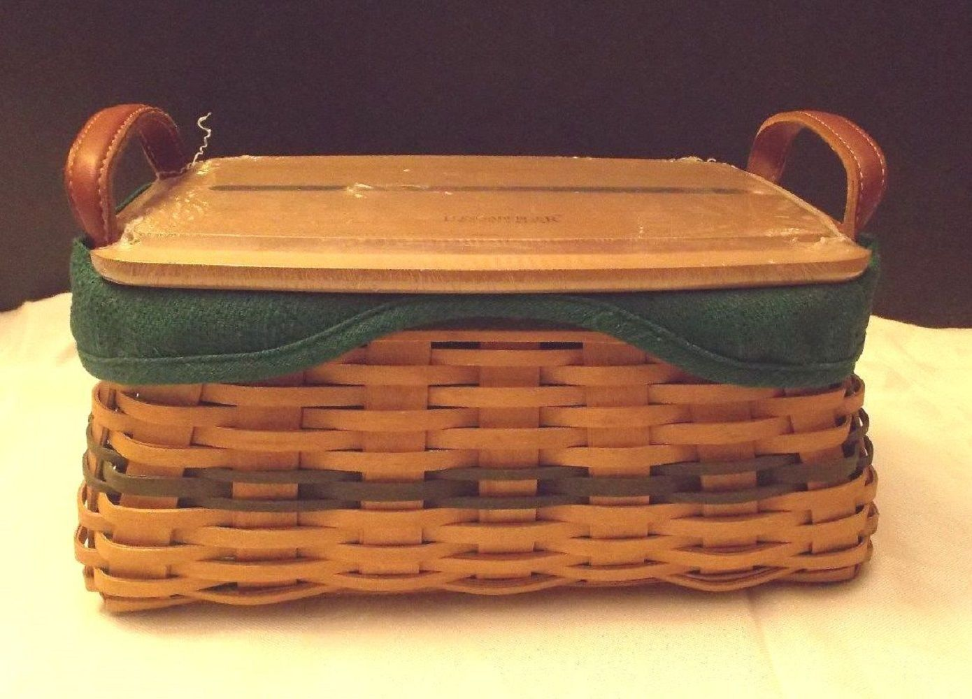 Longaberger Christmas Traditions 2002 Basket Ivy Green Fabric OE Liner Only