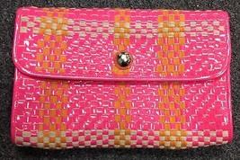 KATE SPADE Neon Pink Patent Leather Orange Beige Woven Clutch Handbag B4171 - $79.19
