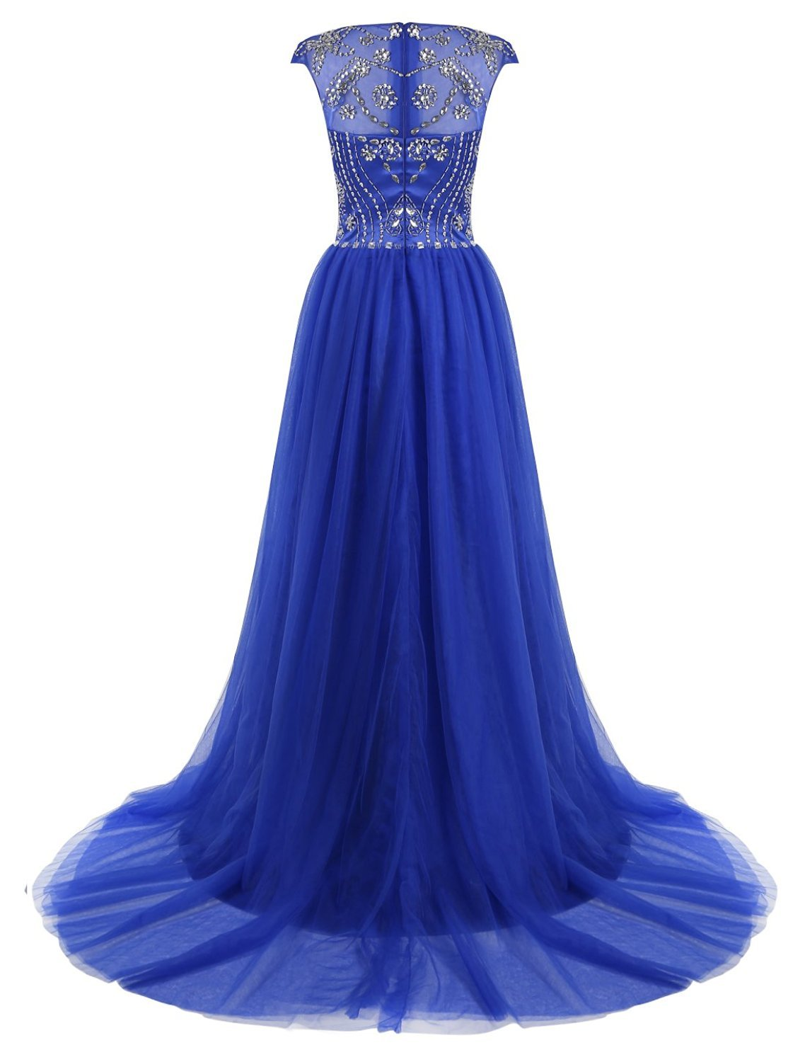 Women's Ball Gown Long Tulle Beading Prom Dress Cap Sleeves Evening Dresses 2018