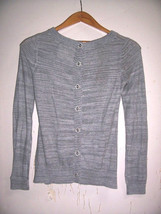 New ANTHROPOLOGIE ANGEL of the NORTH XS Gray Clear Button Cardigan Sweater - $29.44