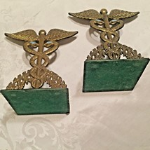 Antique Brass Hen Holon Caduceus Book Ends Made in Israel Doctor Medical  - $46.39
