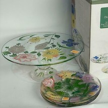 5 pc Royal Danube Glass Pedestal Hand Painted Cake Plate Flower Garden G... - $39.59