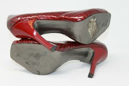 "Jessica Simpson Size 9.5 B Womens Heels Red Croc Embossed Leather Upper 4"" Heel image 4"