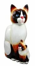 Balinese Wood Handicrafts Adorable Blue Eyed Feline Cat & Kitten Family ... - $41.99