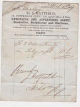 L. Hatfield London 1869 Newspaper and Advertising Agent Paid Receipt Ref... - $7.55