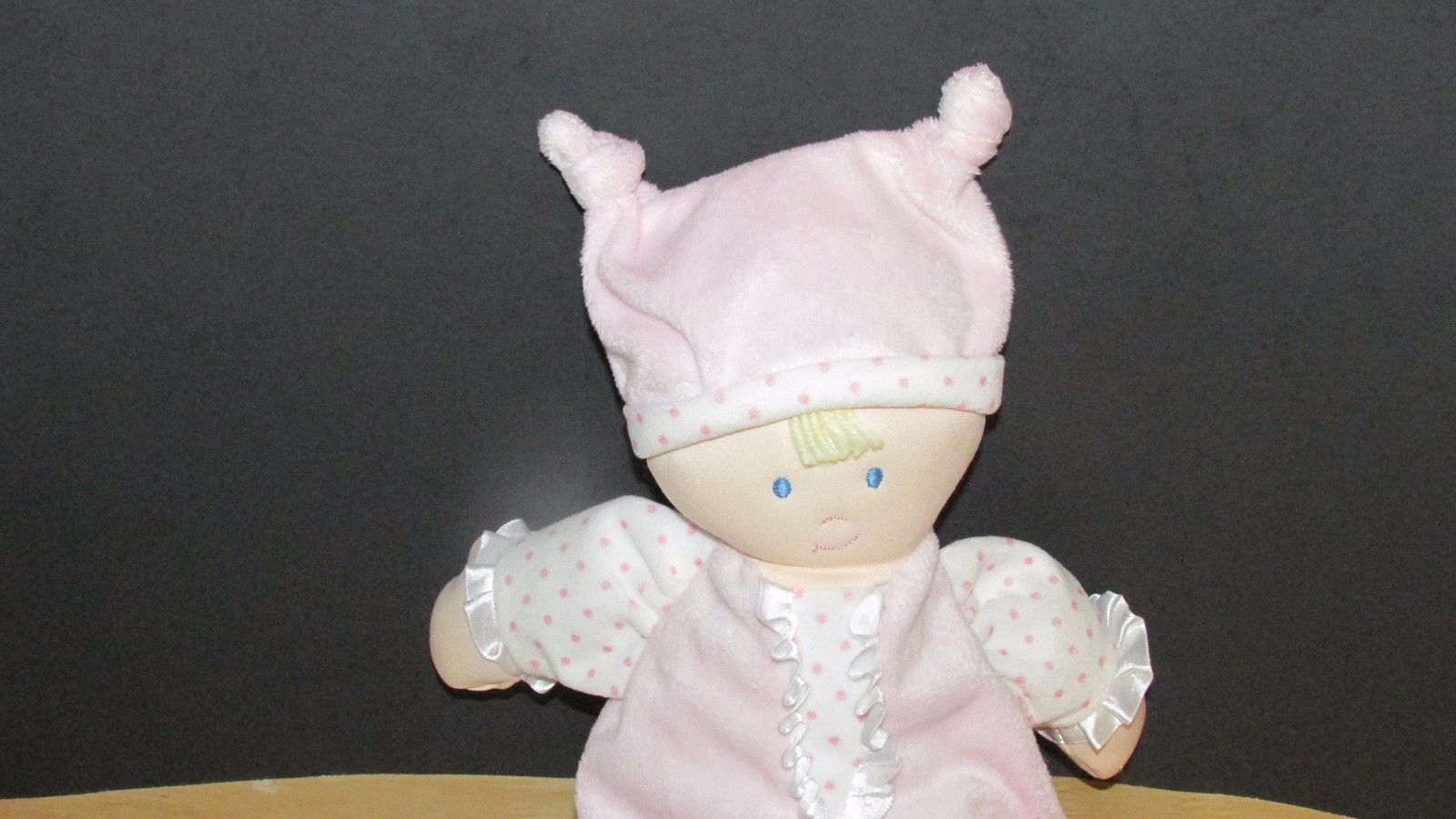 Kids Preferred doll baby soft plush pink knotted hat polka dots satin ruffle image 2