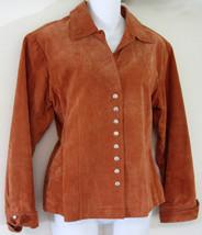 Coldwater Creek Suede Light Coat Medium Misses Jacket Lined Rust Snap Front - $25.19