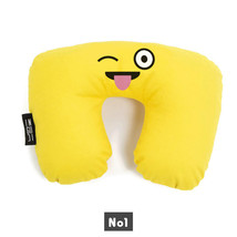 Emoji travel neck pillow filled inside with fibre airplane pillow U shap... - $19.00