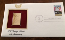 US Savings Bonds 50th Anniversary First Day Gold Stamp Issue Apr. 30, 1991  - $4.50