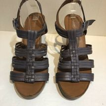 franco sarto Taupe Purple strappy cage leather heels Size 10.5 image 3