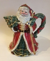 Santa Claus Porcelain Pitcher Christmas Tree Presents Red Green Vintage ... - $49.00