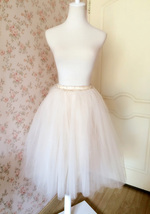 IVORY WHITE Tea Length Tulle Skirt Ivory Wedding Bridesmaid Skirts Plus Size NWT