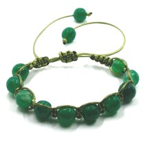 SHAMBALLA BRACELET GREEN AGATE FACETED 10mm SPHERES, COTTON CORD image 1