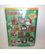 "Bucilla new Counted Cross Stich Kit SET OF 14 ORNAMENTS  4"" SEALED # 84110 - $22.00"