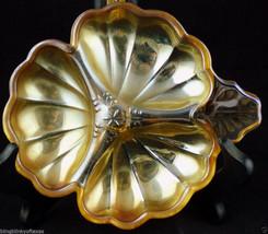 Carnival Relish Glass Dish Flower Depression Iridescent Orange Color - $18.76