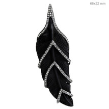 Carved Black Gemstone 925 Silver Pave Diamond Designer LEAF Pendant Fine... - $530.64