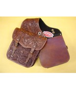 WESTERN TRAIL HORSE OR MOTORCYCLE SADDLE BAG BAGS HAND TOOLED BROWN LEATHER - $85.80