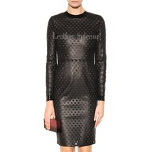 PERFORATED WOMEN CLASSIC LEATHER DRESS