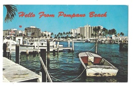 Hello from Pompano Beach FL Inland Water Way Boats Vintage Greetings Pos... - $4.99