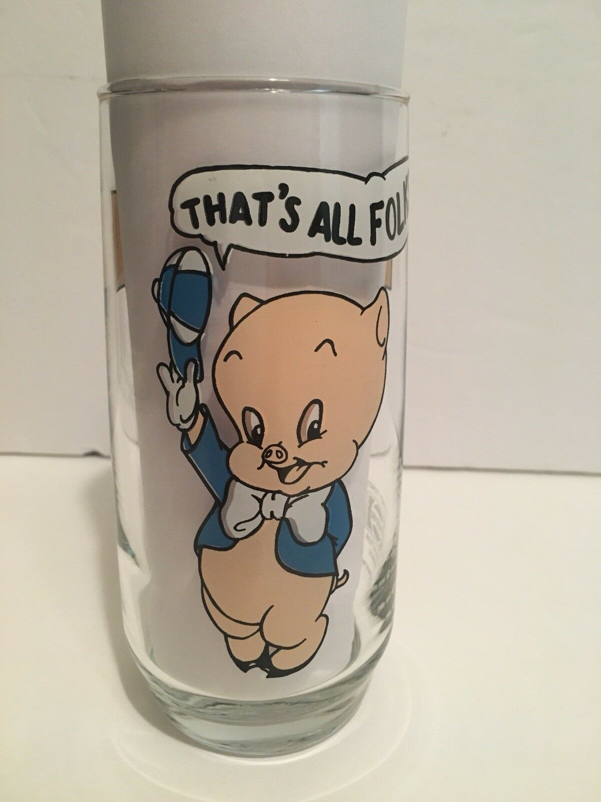 VINTAGE Porky Pig That's All Folks Glass Pepsi Collectors Looney Tunes 1966
