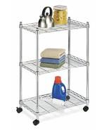 Rolling Cart Organizer 3 Shelf Steel Home Office Utility Kitchen Storage... - $44.85