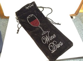 Lyn Dorf Wine Diva Wine Bag w Rhinestone/Gem Wine Glass Design