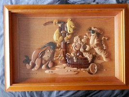 Extremely Rare! Walt Disney Winnie The Pooh Giving Piglet A Bath Wooden ... - $495.00