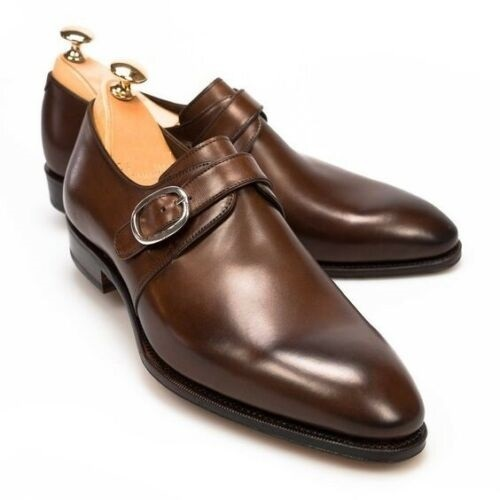 Handmade mens oxfords brown leather monk shoes  men brown leather dress shoes