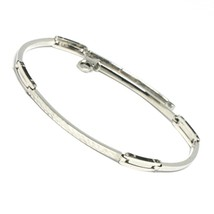Bracelet White Gold 18K 750, Plates Curved Inserts Machined, Slim - $368.73